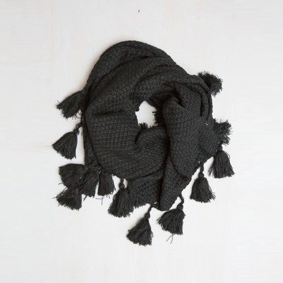 Long Knit Scarf With Tassel