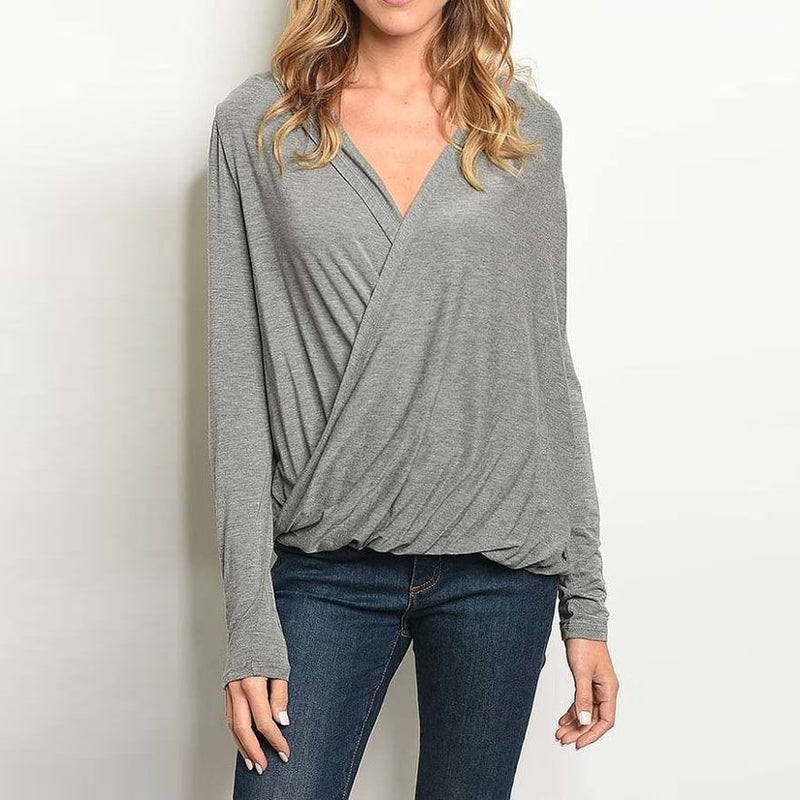 Grey V Neck Drape Front Cowl Top