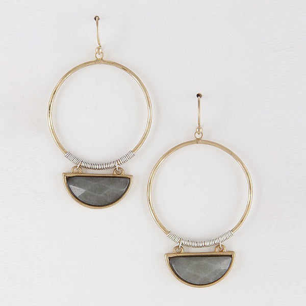 Gold Half Circle Earrings Grey Stone