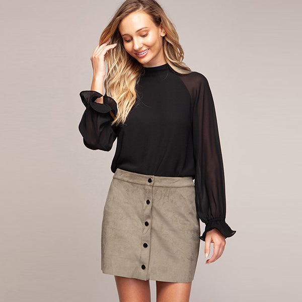 Black Flutter Sleeve Blouse