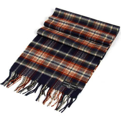 Navy Plaid Cashmere Feel Scarf