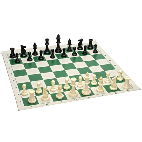 Tournament Plastic Chess Pieces and Rollup Vinyl Chessboard