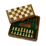 "7"" Golden Rosewood Magnetic Folding Chess Set"