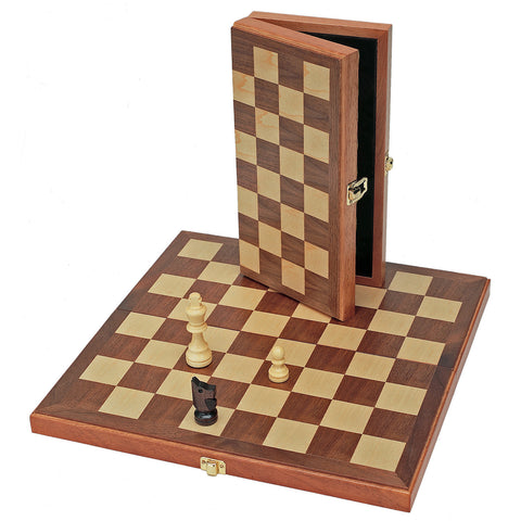 "15""  Classic Folding Chess Set - Walnut Wood Board"
