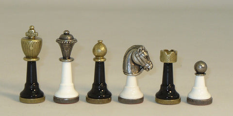 "3"" Metal and Wood Staunton Chessmen. Black & White Wood Bases"