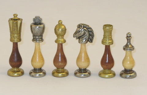 English Design Large Staunton Metal & Wood Base Chess Pieces