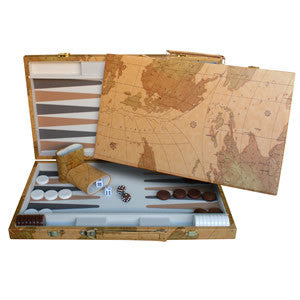 "Map Design Backgammon Set - 18"" with Screen Printed Points"
