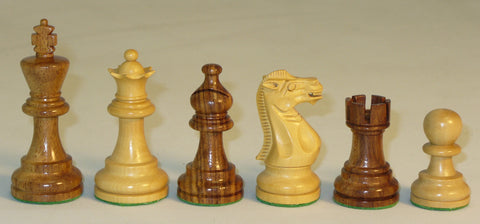 "3.75"" Classica Design Sheesham and Boxwood Chess Pieces"