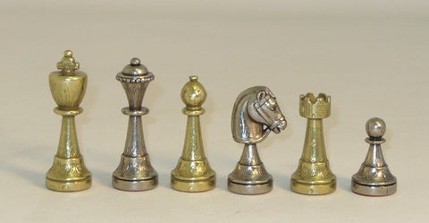 "3"" Stauton Arabesque Design Metal Chess Pieces"