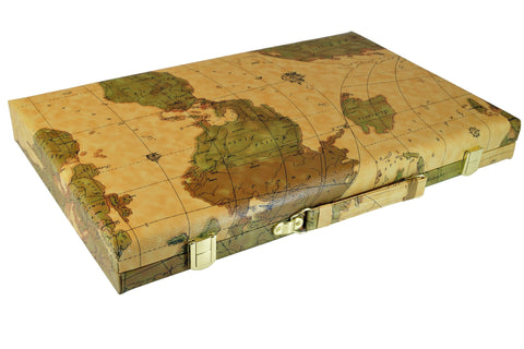 "18"" Map Design Backgammon Set"