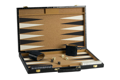 "18"" Black Imitation Snake Skin Backgammon"