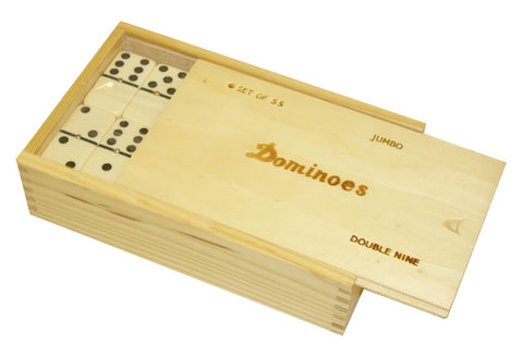 Double Nine Dominoes in Wood Box