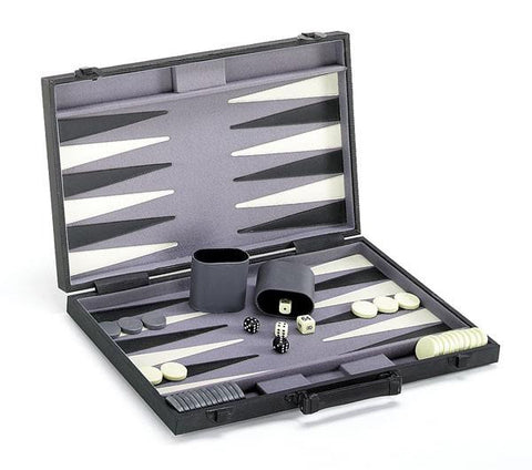"15"" Black Vinyl Backgammon Set"
