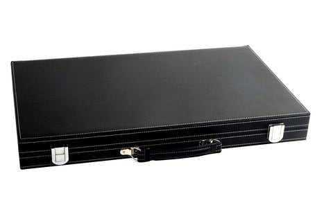 "18"" Black Leatherette Backgammon Set"