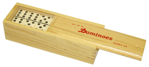 Double Six Dominoes in Wood Box
