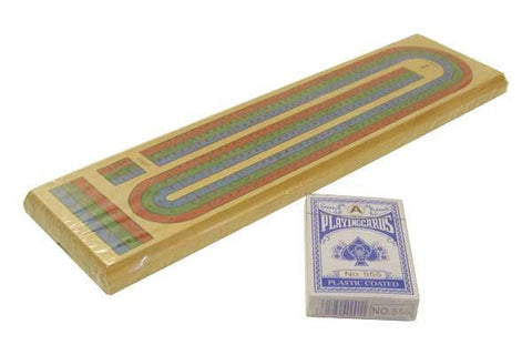 Three-track Cribbage Set with a Deck of  Playing Cards