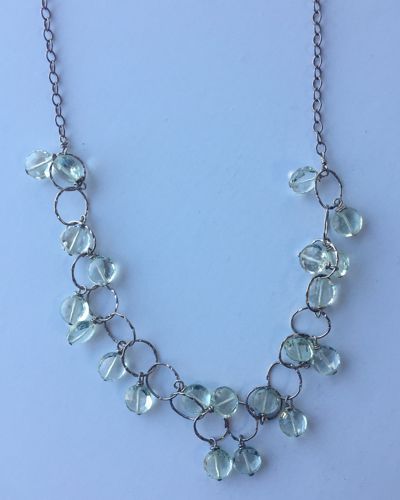 Silver and Clear Stone Dangle Necklace