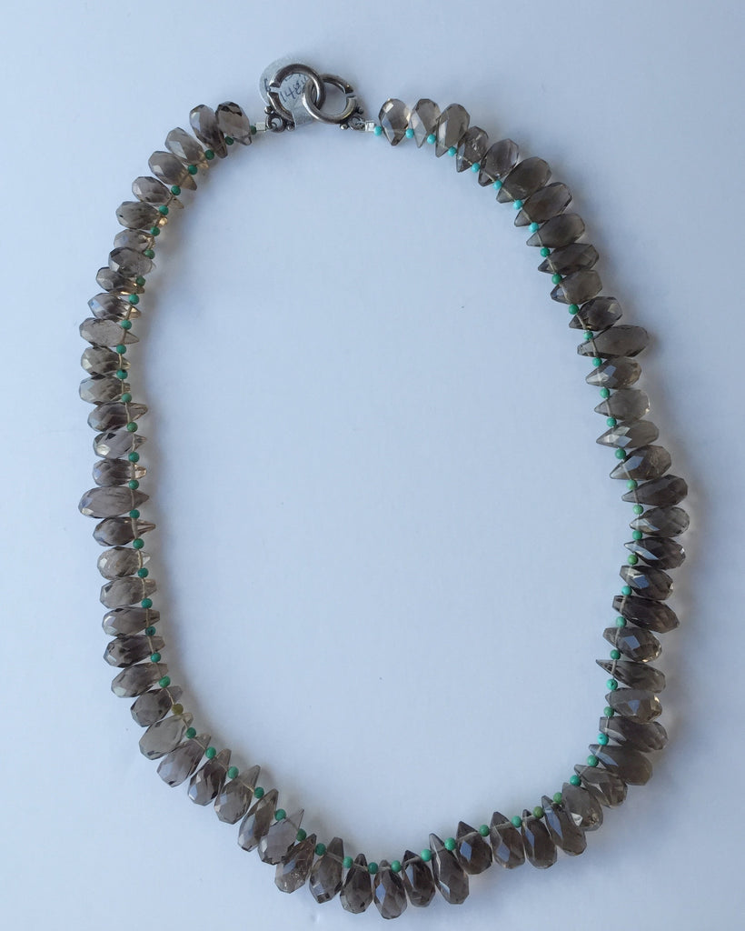 Smokey Topaz and Turquoise Necklace