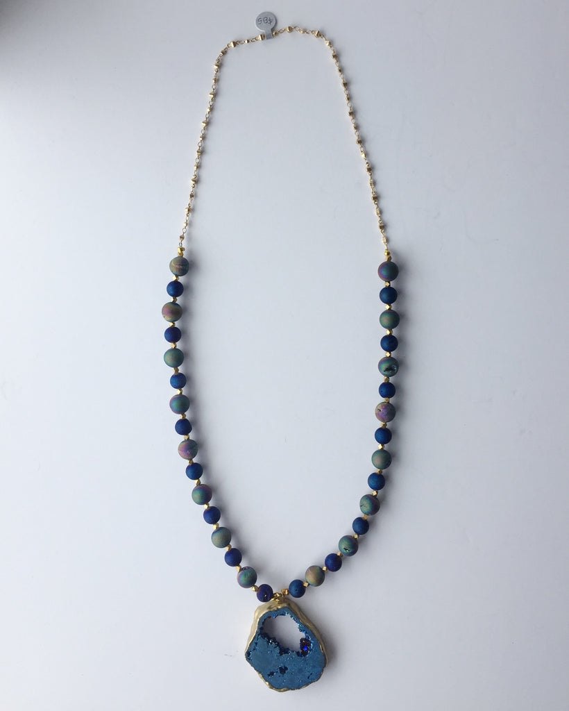 Agate Stone Azul Necklace