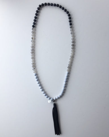 Blue and Black Stone Necklace with Leather Tassle Pendant