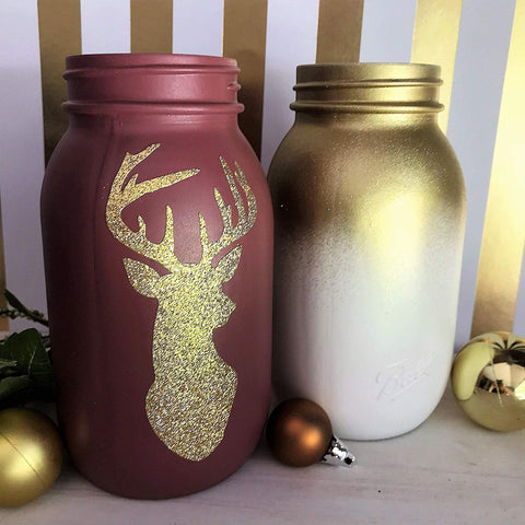 Glitter Mason Jar Holiday Decoration Idea