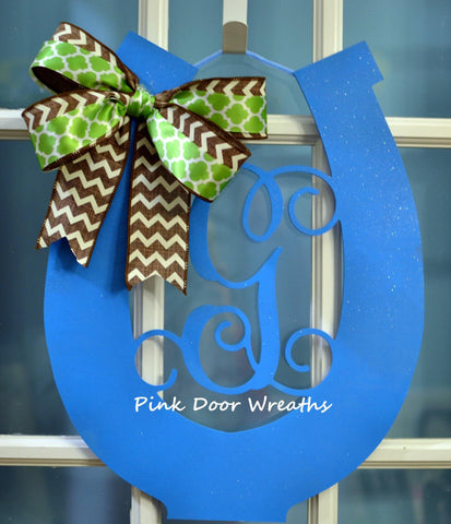 Blue Kentucky Derby Party Monogram Door Hanger | LOTS of colors!