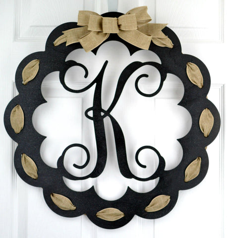 Black and Burlap Scalloped Monogram door hanger