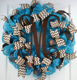Turquoise brown chevron mesh door wreath monogram