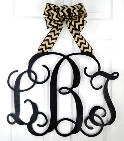 Wooden monogram door hanger