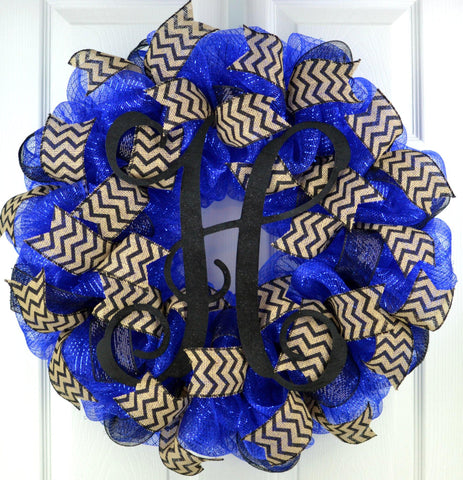 Royal Blue and Black Monogram Door Wreath - Customize Me! - Pink Door Wreaths