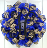 Royal Blue black chevron mesh door wreath monogram