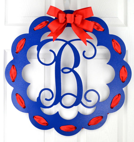 Fourth of July Door Hanger | Patriotic Monogram Wreath | MANY COLORS! - Pink Door Wreaths