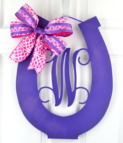 Purple Kentucky Derby Party Monogram Door Hanger | LOTS of colors!