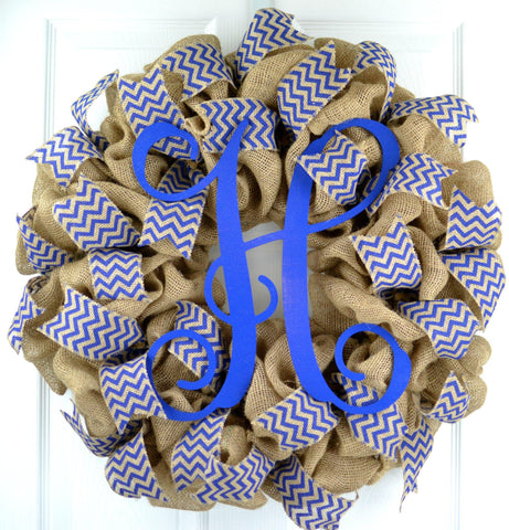 Royal Blue Chevron Burlap Monogram wreath | LOTS of colors!!