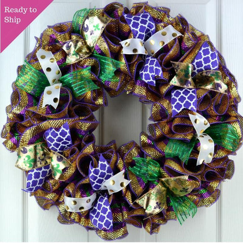 Mardi Gras Wreath | Fat Tuesday Mesh Front Door Wreath | Purple Emerald Green Gold