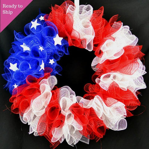 red and white flag wreath