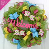 Wreath for Summer | Spring Welcome Wreath | Outdoor Front Door Wreath | Pink Yellow Green Turquoise