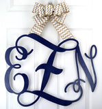 Navy Blue Wooden monogram door hanger nursery decor baby shower gift