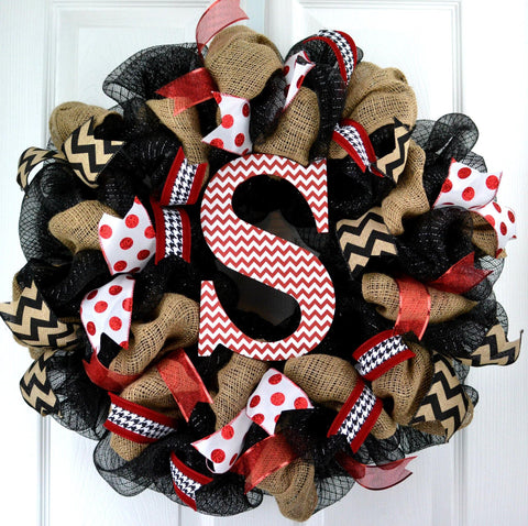 Red and Black Burlap Monogram Everyday Wreath - Pink Door Wreaths