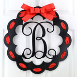 Black and Burlap Scalloped Monogram door hanger | LOTS of colors!