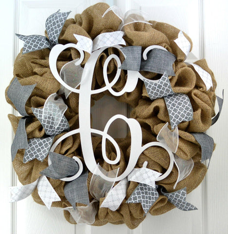 Grey Burlap Monogram Wreath - White Everyday Front Door Decor