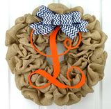 Orange Navy Blue Monogram Door Wreath with Chevron Bow