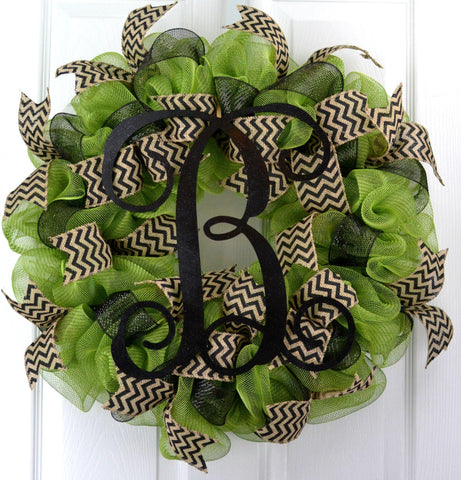 Moss Olive Green black chevron mesh door wreath monogram