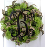 Purple and Black Monogram Door Wreath - Customize Me!