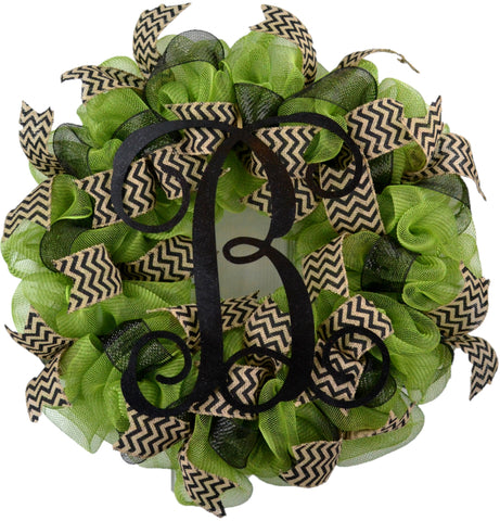 Moss Green and Black Spring Monogram Door Wreath - Customize Me!