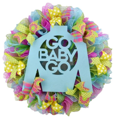 Kentucky Derby Jockey Silk Go Baby Go Mesh Door Wreath : P1