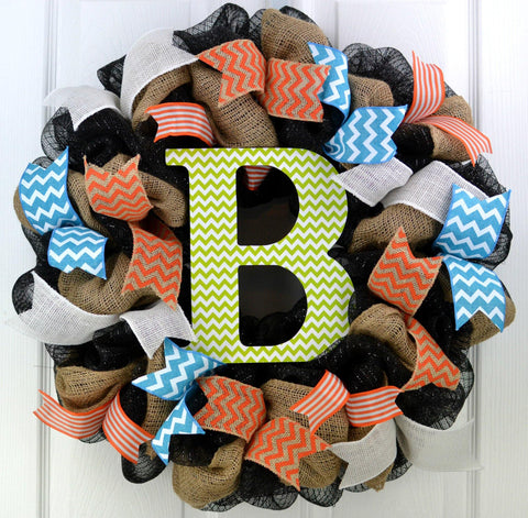 Burlap Everyday Spring Monogram Wreath | Black Orange Turquoise Lime Green