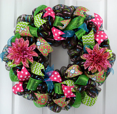 Spring Flower Mesh Door Wreath | Brown Pink Turquoise Lime Green