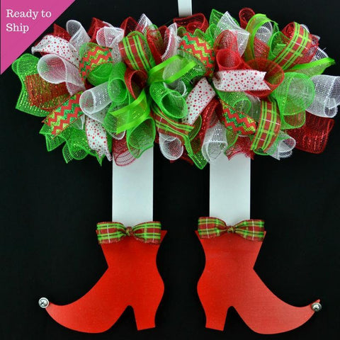 Elf Wreath | Christmas Holidays Wreath | Red Lime Green White