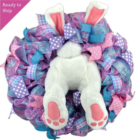 Pink purple and turquoise Easter wreath with plush bunny butt and ears